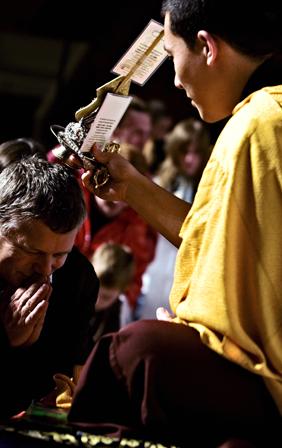 17th Karmapa giving blessings