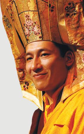 H.H. 17th Karmapa Trinley Thaye Dorje wearing the Gampopa hat